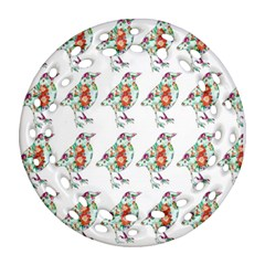 Floral Birds Wallpaper Pattern On White Background Round Filigree Ornament (Two Sides)