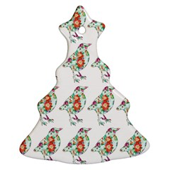 Floral Birds Wallpaper Pattern On White Background Christmas Tree Ornament (Two Sides)