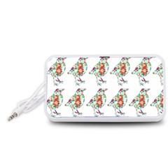 Floral Birds Wallpaper Pattern On White Background Portable Speaker (White)