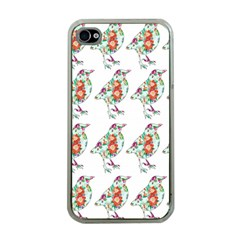 Floral Birds Wallpaper Pattern On White Background Apple Iphone 4 Case (clear)