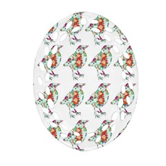 Floral Birds Wallpaper Pattern On White Background Ornament (Oval Filigree)