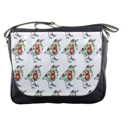 Floral Birds Wallpaper Pattern On White Background Messenger Bags