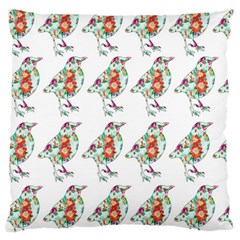 Floral Birds Wallpaper Pattern On White Background Large Cushion Case (One Side)