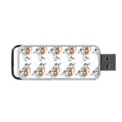 Floral Birds Wallpaper Pattern On White Background Portable USB Flash (Two Sides)