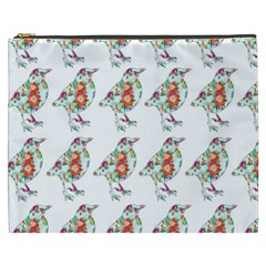 Floral Birds Wallpaper Pattern On White Background Cosmetic Bag (XXXL)