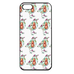 Floral Birds Wallpaper Pattern On White Background Apple iPhone 5 Seamless Case (Black)