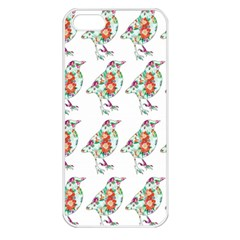 Floral Birds Wallpaper Pattern On White Background Apple iPhone 5 Seamless Case (White)