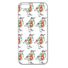 Floral Birds Wallpaper Pattern On White Background Apple Seamless iPhone 5 Case (Clear)