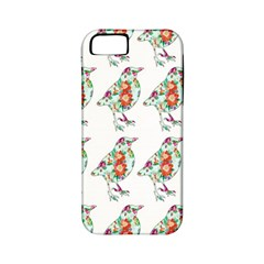 Floral Birds Wallpaper Pattern On White Background Apple iPhone 5 Classic Hardshell Case (PC+Silicone)