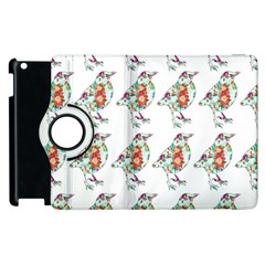 Floral Birds Wallpaper Pattern On White Background Apple Ipad 2 Flip 360 Case