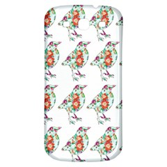 Floral Birds Wallpaper Pattern On White Background Samsung Galaxy S3 S Iii Classic Hardshell Back Case