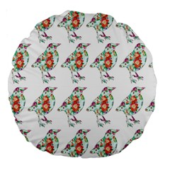 Floral Birds Wallpaper Pattern On White Background Large 18  Premium Round Cushions