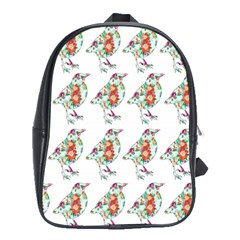 Floral Birds Wallpaper Pattern On White Background School Bags (xl)