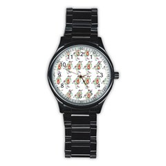 Floral Birds Wallpaper Pattern On White Background Stainless Steel Round Watch