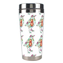 Floral Birds Wallpaper Pattern On White Background Stainless Steel Travel Tumblers
