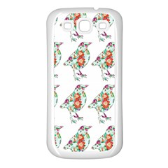 Floral Birds Wallpaper Pattern On White Background Samsung Galaxy S3 Back Case (white)