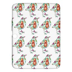 Floral Birds Wallpaper Pattern On White Background Samsung Galaxy Tab 3 (10 1 ) P5200 Hardshell Case
