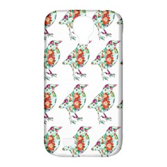 Floral Birds Wallpaper Pattern On White Background Samsung Galaxy S4 Classic Hardshell Case (pc+silicone)