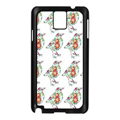 Floral Birds Wallpaper Pattern On White Background Samsung Galaxy Note 3 N9005 Case (Black)