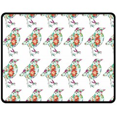 Floral Birds Wallpaper Pattern On White Background Double Sided Fleece Blanket (Medium)