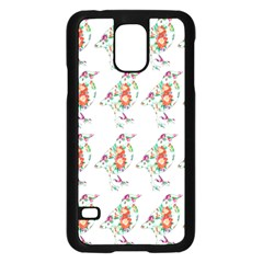 Floral Birds Wallpaper Pattern On White Background Samsung Galaxy S5 Case (Black)