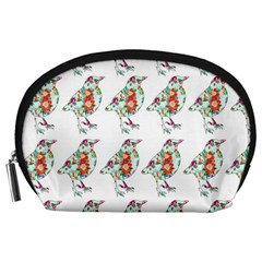Floral Birds Wallpaper Pattern On White Background Accessory Pouches (Large)