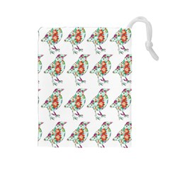 Floral Birds Wallpaper Pattern On White Background Drawstring Pouches (Large)