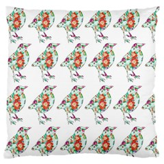 Floral Birds Wallpaper Pattern On White Background Large Flano Cushion Case (two Sides)