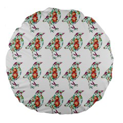 Floral Birds Wallpaper Pattern On White Background Large 18  Premium Flano Round Cushions