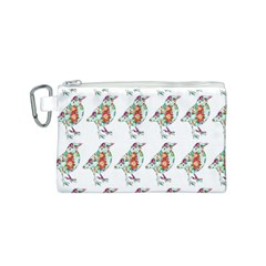 Floral Birds Wallpaper Pattern On White Background Canvas Cosmetic Bag (S)