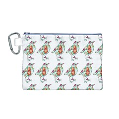 Floral Birds Wallpaper Pattern On White Background Canvas Cosmetic Bag (m)