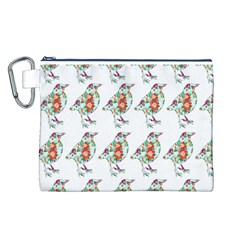 Floral Birds Wallpaper Pattern On White Background Canvas Cosmetic Bag (l)