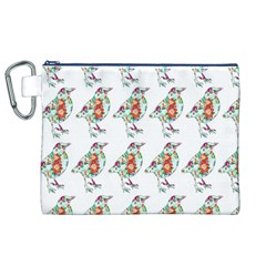 Floral Birds Wallpaper Pattern On White Background Canvas Cosmetic Bag (XL)