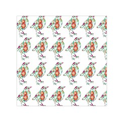 Floral Birds Wallpaper Pattern On White Background Small Satin Scarf (Square)