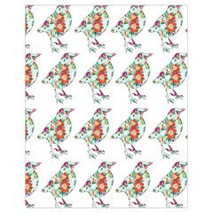 Floral Birds Wallpaper Pattern On White Background Drawstring Bag (small)