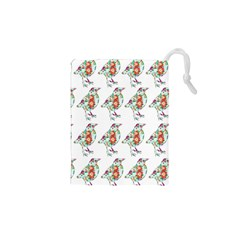 Floral Birds Wallpaper Pattern On White Background Drawstring Pouches (XS)