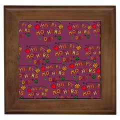 Happy Mothers Day Text Tiling Pattern Framed Tiles
