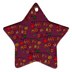 Happy Mothers Day Text Tiling Pattern Ornament (Star)