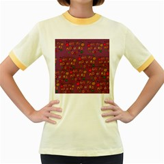 Happy Mothers Day Text Tiling Pattern Women s Fitted Ringer T Shirts