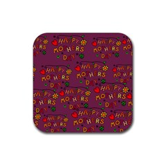 Happy Mothers Day Text Tiling Pattern Rubber Square Coaster (4 Pack)