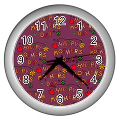 Happy Mothers Day Text Tiling Pattern Wall Clocks (silver)