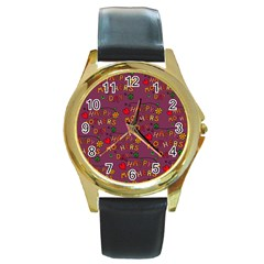 Happy Mothers Day Text Tiling Pattern Round Gold Metal Watch