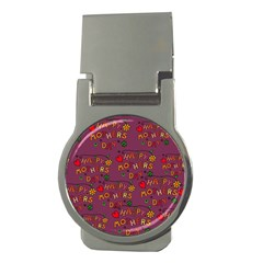 Happy Mothers Day Text Tiling Pattern Money Clips (Round)