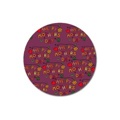 Happy Mothers Day Text Tiling Pattern Magnet 3  (Round)