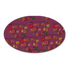 Happy Mothers Day Text Tiling Pattern Oval Magnet