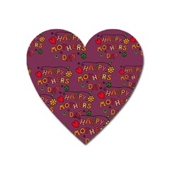 Happy Mothers Day Text Tiling Pattern Heart Magnet
