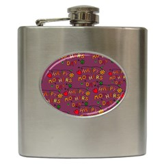 Happy Mothers Day Text Tiling Pattern Hip Flask (6 oz)