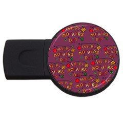Happy Mothers Day Text Tiling Pattern Usb Flash Drive Round (2 Gb)
