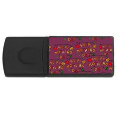 Happy Mothers Day Text Tiling Pattern USB Flash Drive Rectangular (2 GB)