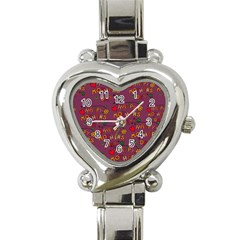 Happy Mothers Day Text Tiling Pattern Heart Italian Charm Watch